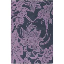 Counterfeit Studio Purple Floral Hand-tufted New Zealand Wool Rug (7'9 x 10'6)
