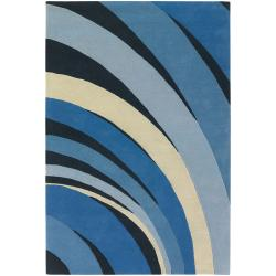 Counterfeit Studio Blue Stripe Hand-tufted New Zealand Wool Rug (7'9 x 10'6)