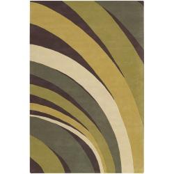 Counterfeit Studio Green Stripe Hand-tufted New Zealand Wool Rug (7'9 x 10'6)