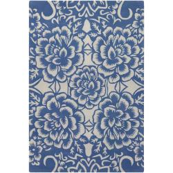 Counterfeit Studio Blue Floral Hand-tufted New Zealand Wool Rug (7'9 x 10'6)