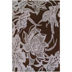 "Counterfeit Studio Brown/White Floral Hand-Tufted New Zealand Wool Rug (7'9"" x 10'6"")"