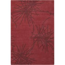Counterfeit Studio Hand-tufted Red Geometric New Zealand Wool Rug (7'9 x 10'6)