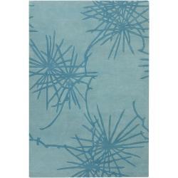 Counterfeit Studio Hand-tufted Blue Geometric New Zealand Wool Rug (7'9 x 10'6)