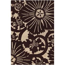 Counterfeit Studio Hand-tufted Brown Geometric New Zealand Wool Rug (7'9 x 10'6)