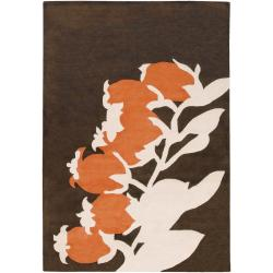 "Thomaspaul Orange Floral Hand-Tufted New Zealand Wool Area Rug (7'9"" Round)"