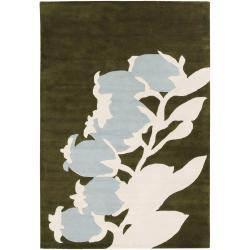 Thomaspaul Green Floral Hand-tufted New Zealand Wool Rug (5' x 7'6)