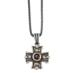 14k Yellow Gold and Sterling Silver Rhodolite Garnet Cross Necklace