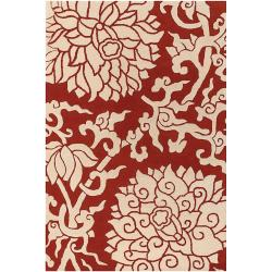 Thomaspaul Orange Floral Hand-tufted New Zealand Wool Rug (5' x 7'6)