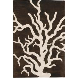 Thomaspaul Brown Floral Hand-tufted New Zealand Wool Rug (5' x 7'6)