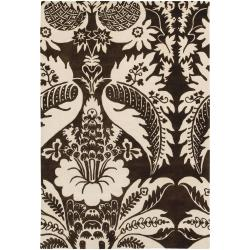 "Thomaspaul Brown Oriental-Flower-Motif Floral Hand-Tufted New-Zealand-Wool Rug (5' x 7'6"")"