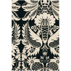 Thomaspaul Black Floral Hand-Tufted New Zealand Wool Accent Rug (3' x 5')