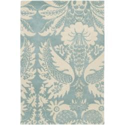 Thomaspaul Blue Floral Hand-tufted New Zealand Wool Rug (3' x 5')
