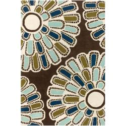 Thomaspaul Brown Modern-Flower-Motif Floral Hand-Tufted New-Zealand-Wool Rug (5' x 7'6