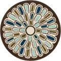 Thomaspaul Blue/Green Modern-Floral-Motif Hand-Tufted New-Zealand-Wool Rug (7'9 Round)