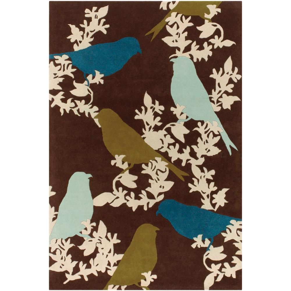 "Thomaspaul Birds Design Hand-Tufted New Zealand Wool Area Rug (5' x 7'6"")"