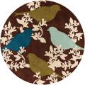Thomaspaul Birds and Floral Design Hand-Tufted New Zealand Wool Rug (7'9 Round)