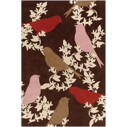Thomaspaul Birds Design Hand-tufted New Zealand Wool Rug (5' x 7'6)
