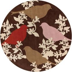 Thomaspaul Birds Design Hand-tufted New Zealand Wool Rug (7'9 Round)