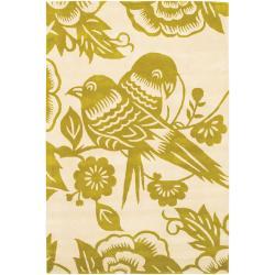 Thomaspaul Love Birds Hand-tufted New Zealand Wool Rug (7'9 Round)