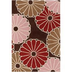 Thomaspaul Brown Geometric Hand-tufted New Zealand Wool Rug (5' x 7'6)