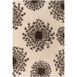 Thomaspaul Brown/Ivory Flower-Motif Floral Hand-Tufted New-Zealand-Wool Rug (5' x 7'6