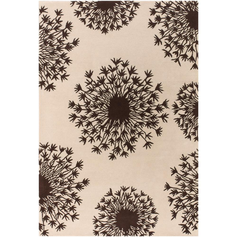 "Thomaspaul Brown/Ivory Flower-Motif Floral Hand-Tufted New-Zealand-Wool Rug (5' x 7'6"")"