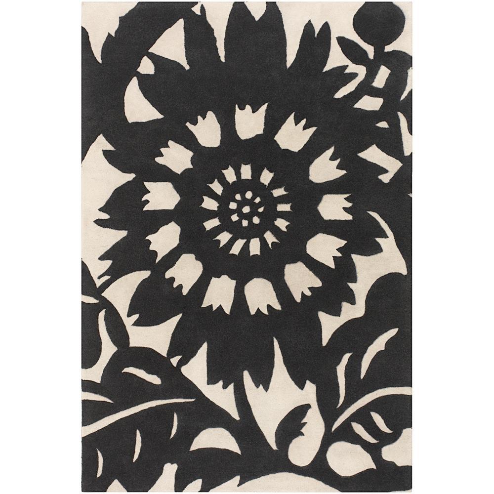 Thomaspaul Black Floral Hand-tufted New Zealand Wool Rug (5' x 7'6)