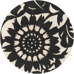 Thomaspaul Black Floral Hand-tufted New Zealand Wool Rug (7'9 Round)
