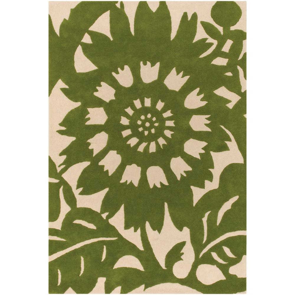 Thomaspaul Green Floral Hand-tufted New Zealand Wool Rug (3' x 5')