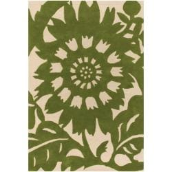 Thomaspaul Green Floral Hand-tufted New Zealand Wool Rug (3' x 5')