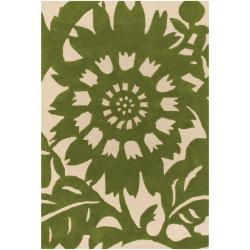 Thomaspaul Green Floral Hand-tufted New Zealand Wool Rug (7'9 x 10'6)