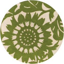 Thomaspaul Green Floral Hand-tufted New Zealand Wool Rug (7'9 Round)