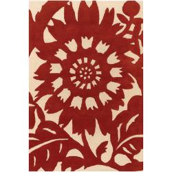 Thomaspaul Red Floral Hand-tufted New Zealand Wool Rug (5' x 7'6)