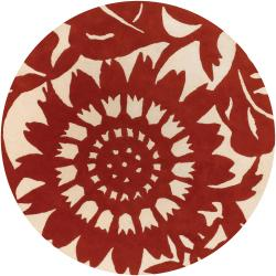 Thomaspaul Red Floral Hand-tufted New Zealand Wool Rug (7'9 Round)