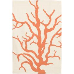 Thomaspaul Orange Floral Flat-weave New Zealand Wool Rug (5' x 7'6')