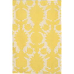 Thomaspaul Yellow Floral Flat-weave New Zealand Wool Rug (5' x 7'6')