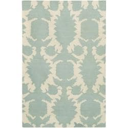 Thomaspaul Blue Floral Flat-weave New Zealand Wool Rug (5' x 7'6')