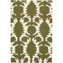 Thomaspaul Green Floral Flat-weave New Zealand Wool Rug (5' x 7'6')