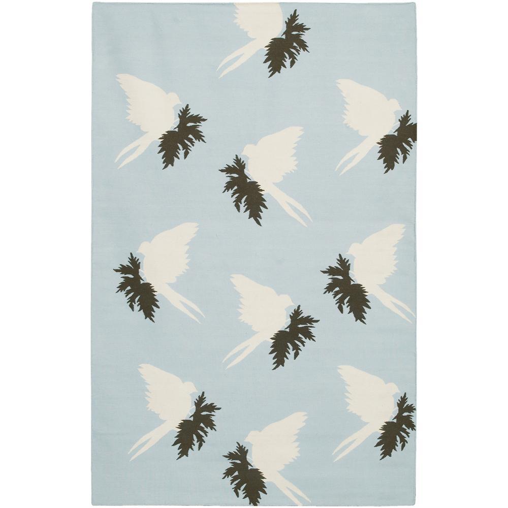 Thomaspaul Blue Bird Flat-weave New Zealand Wool Rug (5' x 7'6')