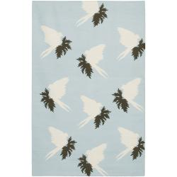 Thomaspaul Blue Bird Flat-weave New Zealand Wool Rug (5' x 7'6')