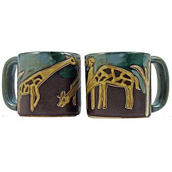 Set of 2 Mara Stoneware 16-oz Giraffes Mugs (Mexico)
