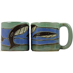 Set of 2 Mara Stoneware 16-oz Whales Mugs (Mexico)