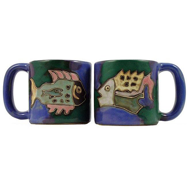 Set of 2 Mara Stoneware 16-oz Fish Mugs (Mexico)