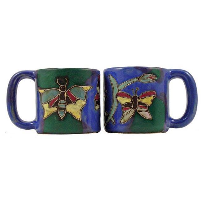Set of 2 Mara Stoneware 16-oz Butterflies Mugs (Mexico)