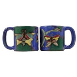 Set of 2 Mara Stoneware 16-oz Butterflies Mugs (Mexico)