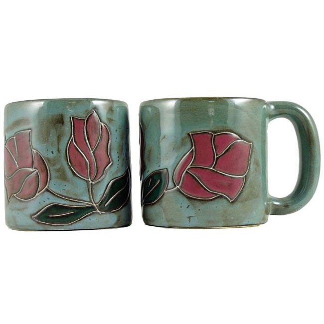 Set of 2 Mara Stoneware 16-oz Red Rose Mugs (Mexico)