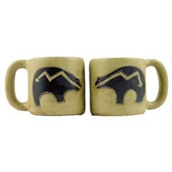 Set of 2 Mara Stoneware 16-oz Bear Mugs (Mexico)