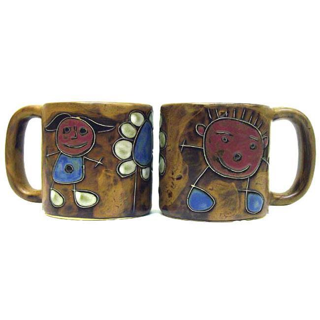 Set of 2 Mara Stoneware 16-oz Children Mugs (Mexico)