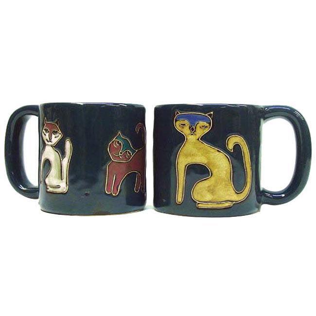 Set of 2 Mara Stoneware 16-oz Cats Mugs (Mexico)