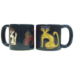 Set of 2 Mara Stoneware 16-oz Cats Mugs (Mexico)